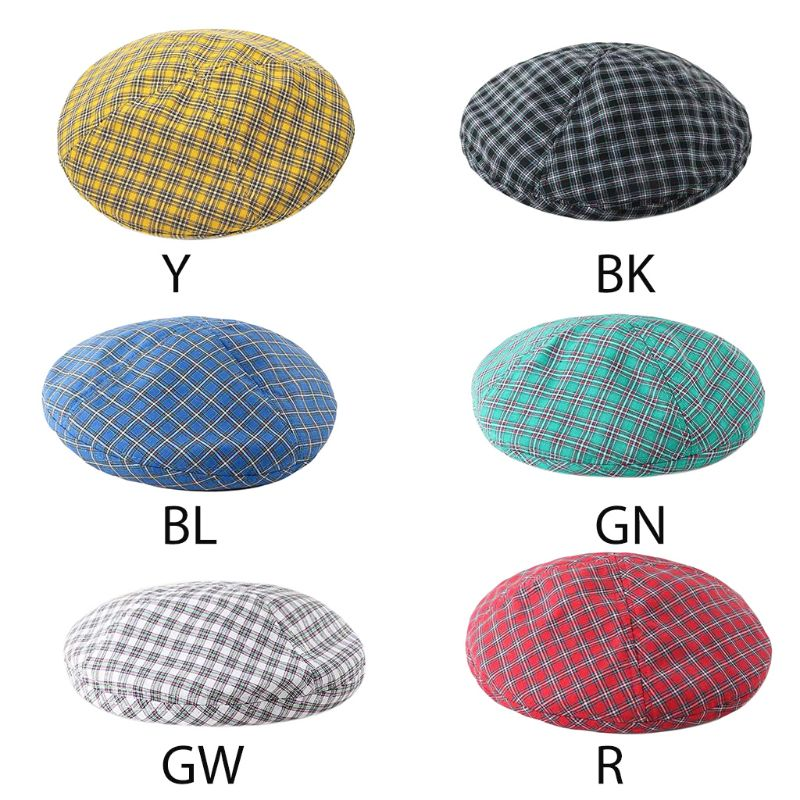 British Style Women Girls Summer Retro Beret Cap Vintage Plaid Gird Printed Cotton Adjustable Casual French Painter Beanie Hat in Women 39 s Berets from Apparel Accessories