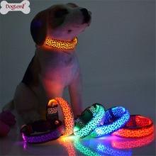 Adjustable LED Light Glow Pet Collar Leopard Nylon Pet Dog Cat Night Safety Luminous Flashing Necklace Glowing Neck Belt XWBE. adjustable 2 mode led flashing dog collar belt orange