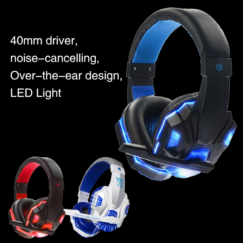 Игровая гарнитура наушники компьютер мода над ухом прочный светодиодный Gaming-kopfhører