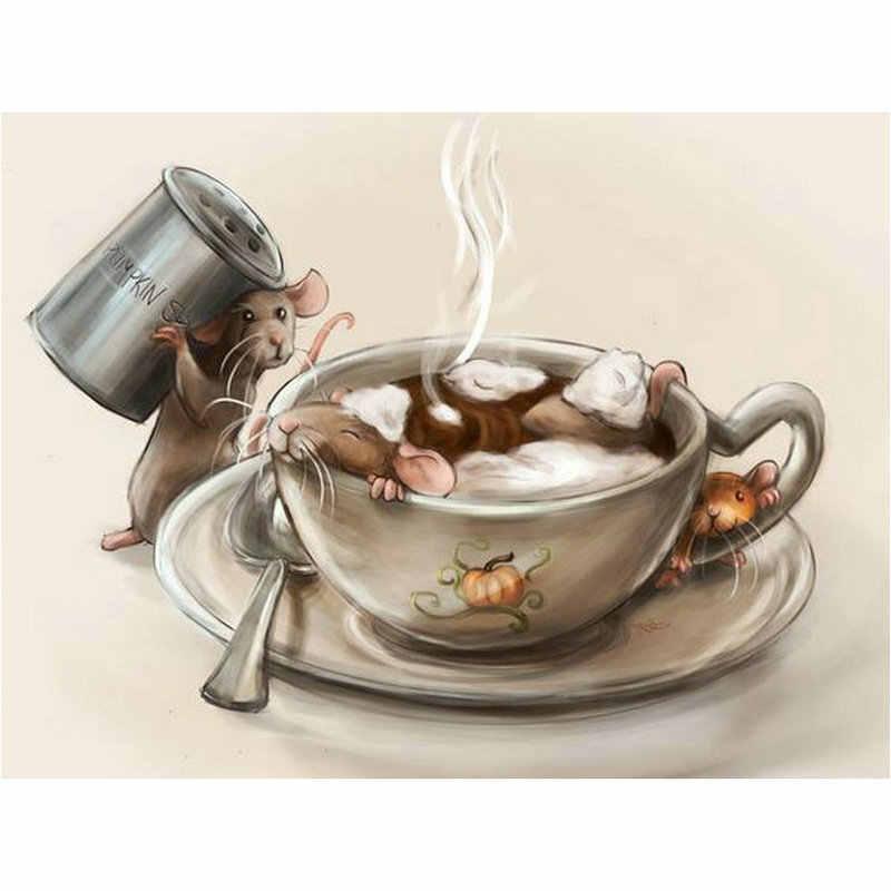 スクエア/ラウンドダイヤモンド刺繍漫画マウス 5D Diy のダイヤモンド塗装クロスステッチコーヒーカップモザイクラインストーン写真