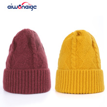 2019 retro woman solid color winter knit hat wool Innocent cap casual cotton peas high quality ski warm mask