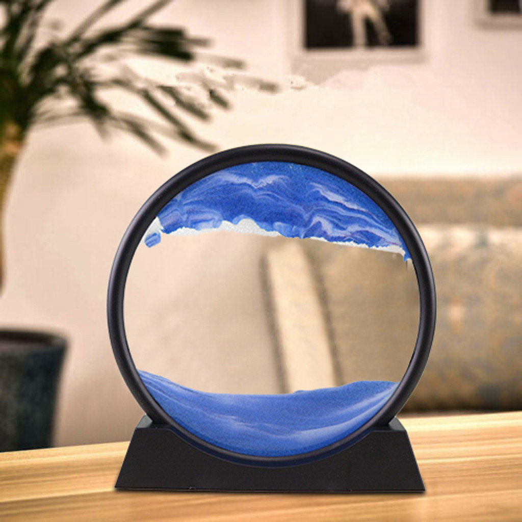 Moving Sand Picture Frame Liquid Landscape Painting Glass Photo Desk Ornaments Vision Flowing Sand Painting Photo Frame #N