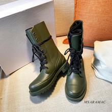 Damskie buty przeciwdeszczowe zieleń wojskowa pcv buty motocyklowe damskie buty zimowe rycerz płaski obcas kostki długie buty