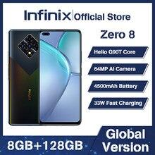 Versão global infinix zero 8 8gb 128gb telefone inteligente 6.85 fffhd 90hz tela cheia 64mp quad câmera 4500mah bateria 33w carregador