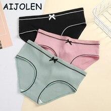 AIJOLEN Pure Color Stretch Panties Large Size Threaded Underwear Bow-knot Bound Women's Panties Briefs L/XL/XXL