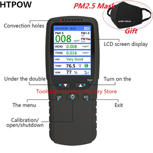 Image 1 - PM1.0 PM2.5 PM10 Monitor TVOC HCHO Formaldehyd Detector New 8 in 1 Temperature Humidity Meter Air Quality Monitor Gas Analyzer