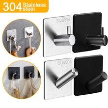 1/3/5Pcs Adhesive Wall Hooks Decorative Coat Hook SUS304 Robe Hook Towel Hook for Bathroom Stainless Steel Rustproof Hook Hanger