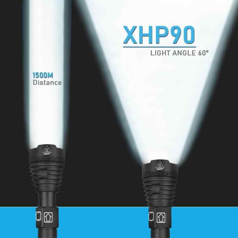 Linterna led más potente de alta lm xhp90 antorcha usb xhp70 cree xhp50 18650 o 26650 lámpara de mano recargable luz de flash de caza