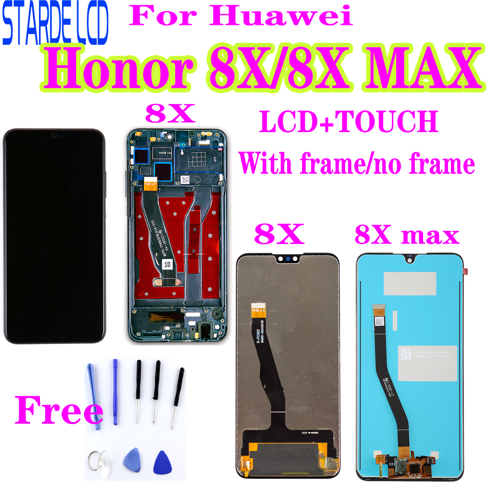 For Huawei <font><b>Honor</b></font> <font><b>8X</b></font> <font><b>LCD</b></font> Display Touch Digitizer Screen Replacement for <font><b>Honor</b></font> <font><b>8X</b></font> MAX <font><b>LCD</b></font> Screen JSN-L22 JSN-L21 ARE-AL00 with Bez image