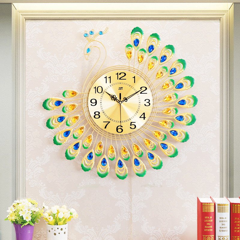 60x60cm Large 3D Gold Diamond Peacock Wall Clock Metal Watch for Home Living Room Decoration DIY Clocks Crafts Ornaments Gift