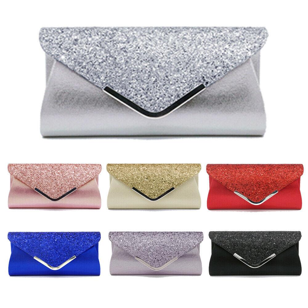 NoEnName 2019 Women's Glitter Shimmer Envelope Ladies Sequins Evening Party Prom Smart Jane Clutch Bag Handbag