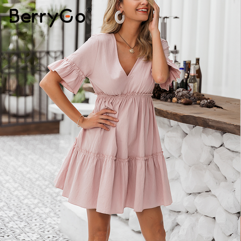 BerryGo Sexy Ruffled Women Summer Short Dress Backless Lace Up Mini Dress Casual 2020 O Neck A-line Chic Cotton Dresses Ladies