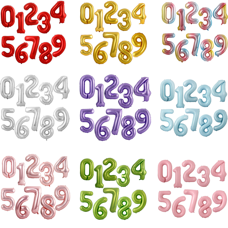 40inch Gradient Rose Red Gold Silver Big <font><b>Number</b></font> Foil <font><b>Balloons</b></font> 0 1 2 3 4 5 6 7 <font><b>8</b></font> 9 18 years Old Birthday Party Wedding Decoration image