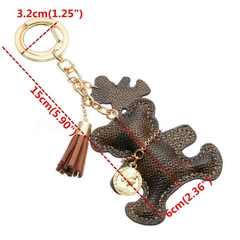 Cuero oso borla estilo bolso llavero cadena accesorios Navidad colgante gota adornos regalo