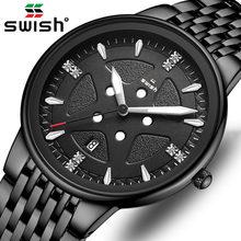 Модные мужские часы черные из нержавеющей стали брендовые Роскошные