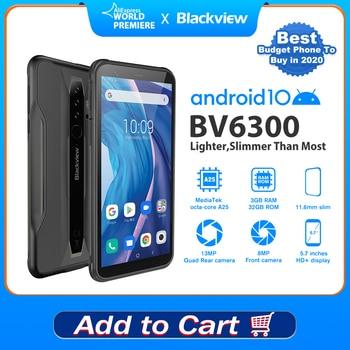 BLACKVIEW BV6300 3GB+32GB Smartphone IP68 Waterproof Slim Rugged Phone 5.7 inch HD Screen NFC 4380mAh Android 10 Mobile Phone original android 10 0 mobile phone blackview bv6300 pro helio p70 6gb 128gb smartphone 4380mah nfc ip68 waterproof rugged phone