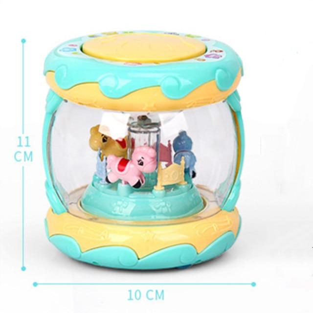 LED Muziek Vroege Educatief speelgoed Learning Developmental Baby Rammelaars Grappige Kinderen Baby Speelgoed Carrousel Musical Hand Drum Beat 1