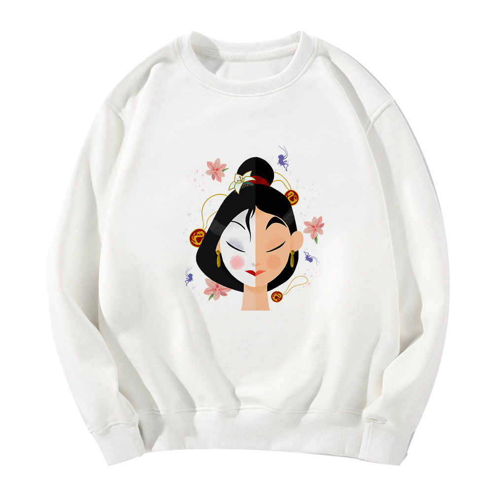 Spring Autumn Mulan Princess Printing Vintage Sweatshirt Hoodies Women Gothic Толстовка Casual Funny Feminism Clothes Tops