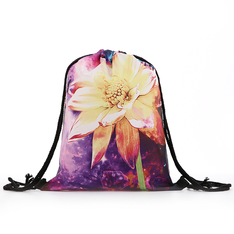 Backpack Drawstring Oil Painting BAGS Drawstring Fashion Printing Travel Softback Men Bags Unisex Women's Shoulder Flower New