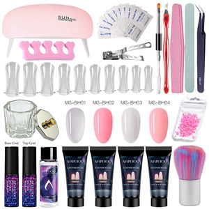 MSRUIOO Poly Extension Nail Gel Kit With Nail Tips Dual Form Qiuck Dry Builder Nail Gel Set Manicure Finger Extension