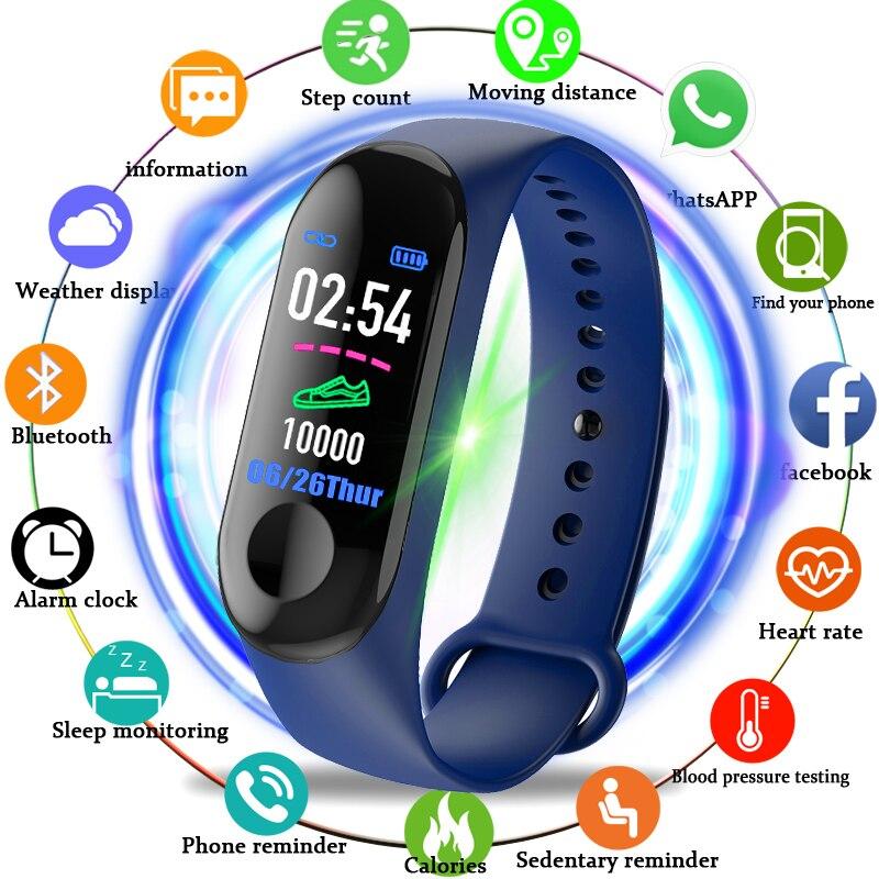 M3 Smart Bracelet Band Fitness Tracker Heart Rate Blood Pressure Messages Reminder Color Screen Sport Wristband Innrech Market.com