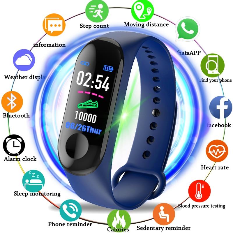 Pulsera inteligente M3 rastreador de actividad ritmo cardíaco mensajes de presión arterial recordatorio pantalla a Color pulsera deportiva