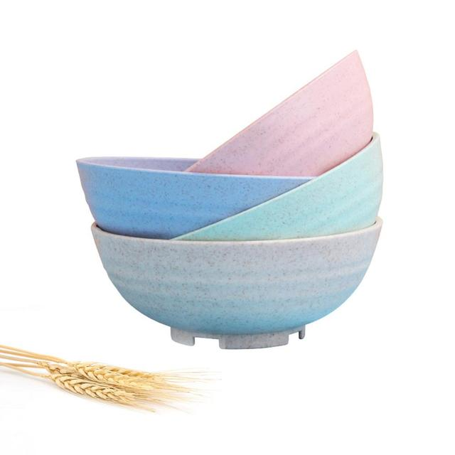 wheat straw plastic cereal bowls dinnerware set reusable unbreakable dinner plate eco friendly dishwasher microwave safe