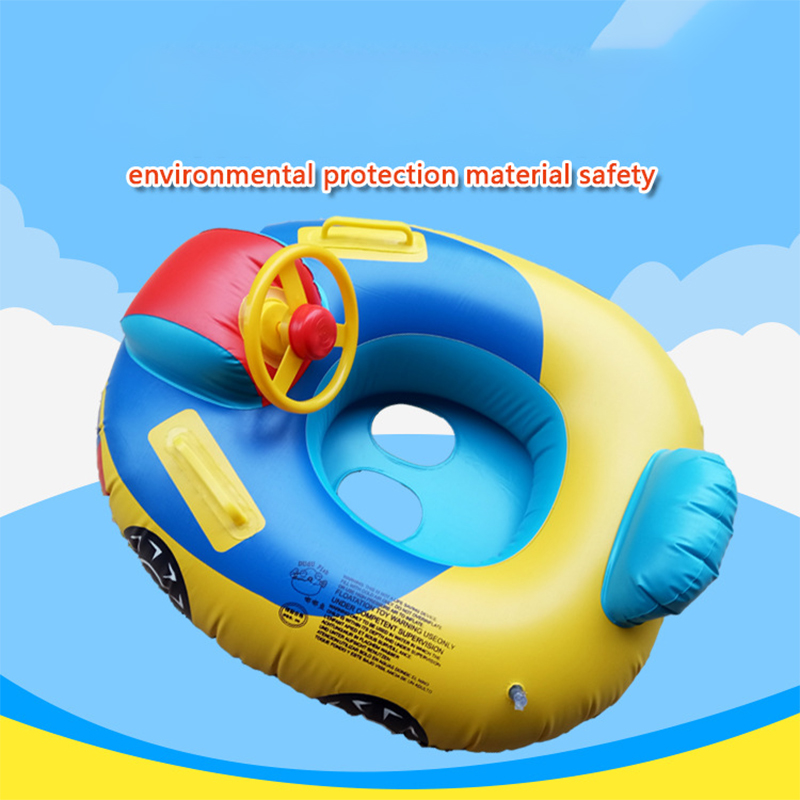 Cartoon Swimming Ring Child Baby Foldable Inflate Seat Direction Boat With Steering Wheel Horn Harmless PVC Plastic Car Boat