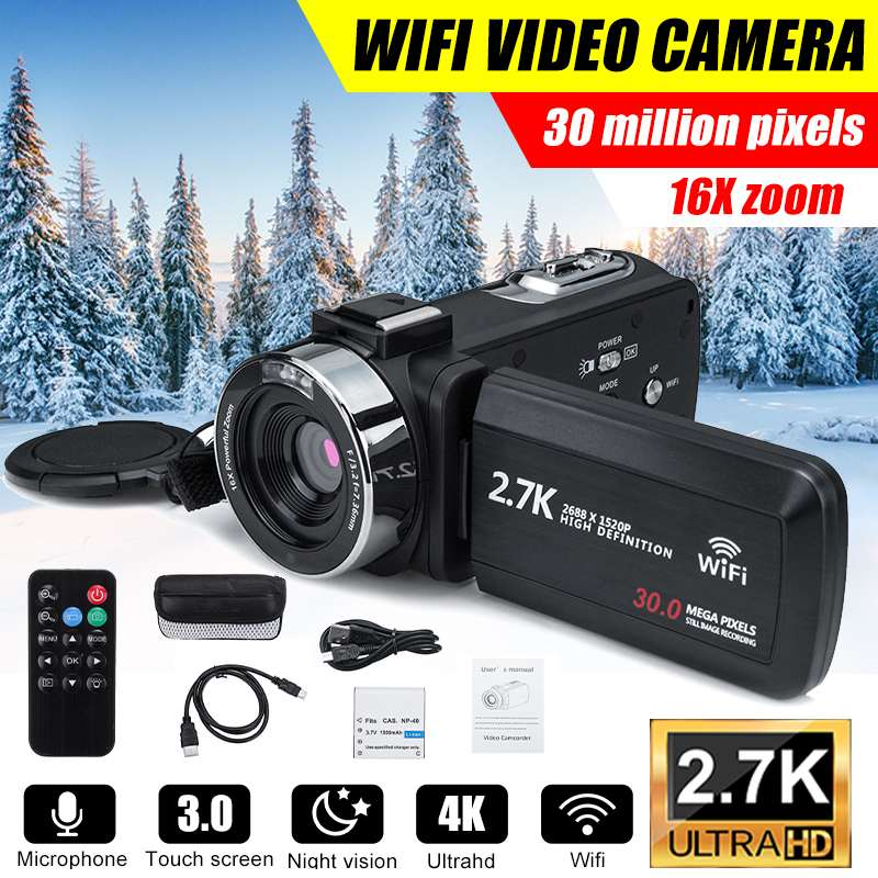 WIFI 30MP Professional HD Camcorder Video Camera Night Vision HD Touch Screen...