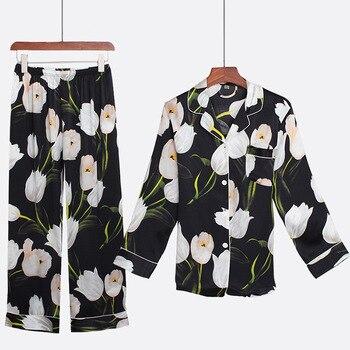 Пижамный костюм, новинка 2020, 100% шелк, Женский комплект одежды для сна из 2 предметов, пижама с черным принтом, повседневное интимное белье, се