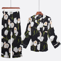 Pajamas Suit 2020 New 100% Silk Lady 2PCS Sleepwear Set Pijamas Black Printed Casual Intimate Lingerie Sexy Lounge Home Wear