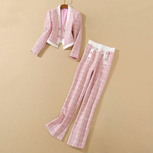 Suit-Set Long-Pant Runway Designer Women's Plaid-Wool-Set New Open-Coat Double-Breasted