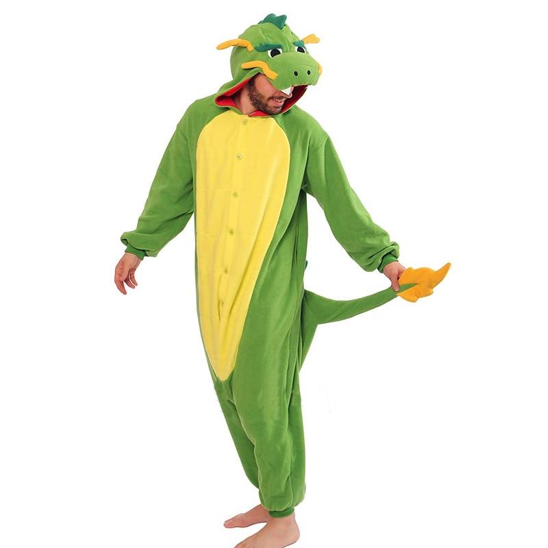 2020 Dragon Pajamas Onesie For Adults Animal Fleece Pajama Unisex Jumpsuit Cosplay Halloween Dragon Pijama Sleepwear