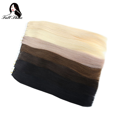 Full Shine Solid Tape in Hair Extensions 100% Human Remy Hair 100g 40Pcs Colorful Tape on Hair Skin Weft Cheveux Extension