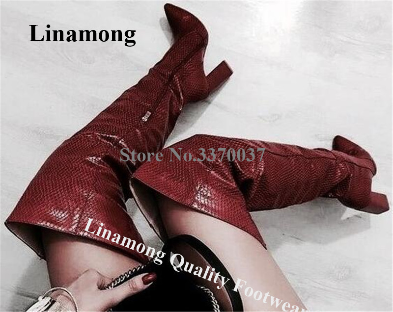 Women Fashion Style Pointed Toe Pattern Snake Leather Chunky Heel Over Knee Boots Sexy Long Thick High Heel Boots Dress Heels