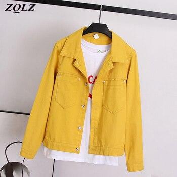 ZQLZ Autumn Denim Jacket Women 2020 Loose Jeans Coat Fashion Black Overcoat Long Sleeve Ladies Tops Spring Coats