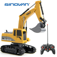 Sinovan RC Car 1:24 Excavator Toy RC Truck with Lights Engineering Car Alloy Plastic Traktor for Kids Gift Chargeable RC Cars