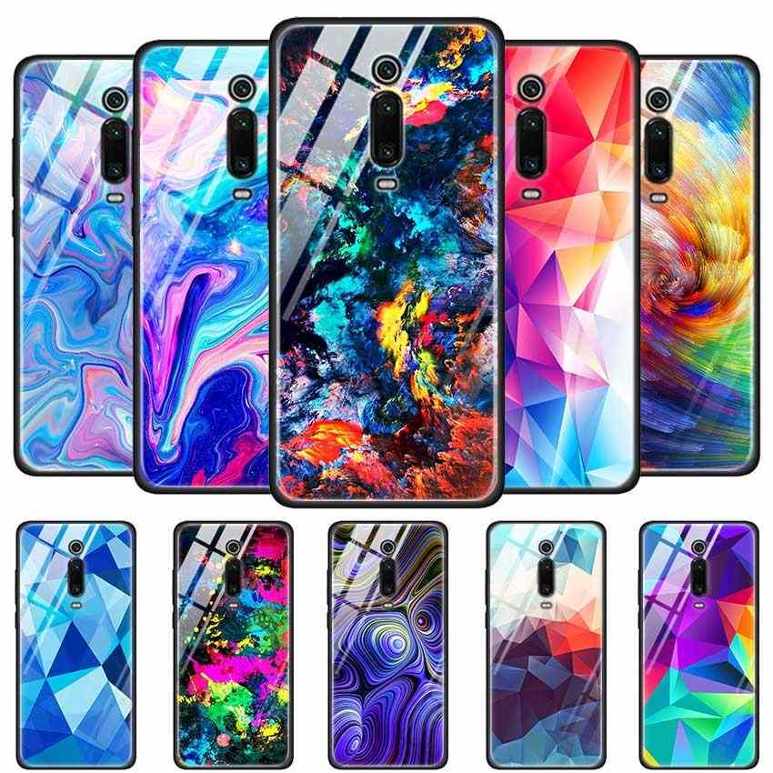 Étui en verre trempé pour rouge mi 7 8A Note6 7 8 K20 K20 Pro coque arrière rigide pour Xiao mi A3 CC9E CC9 étui en Silicone coloré