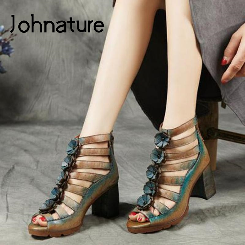 Johnature High Heels Sandals Women Shoes 2020 New Spring Summer Retro Mixed Colors Zip Genuine Leather Casual Platform Sandals