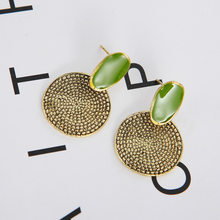 European and American Explosion Models Retro Big Green Drop Oil Round Carved Earrings Aretes De Mujer Modernos(China)