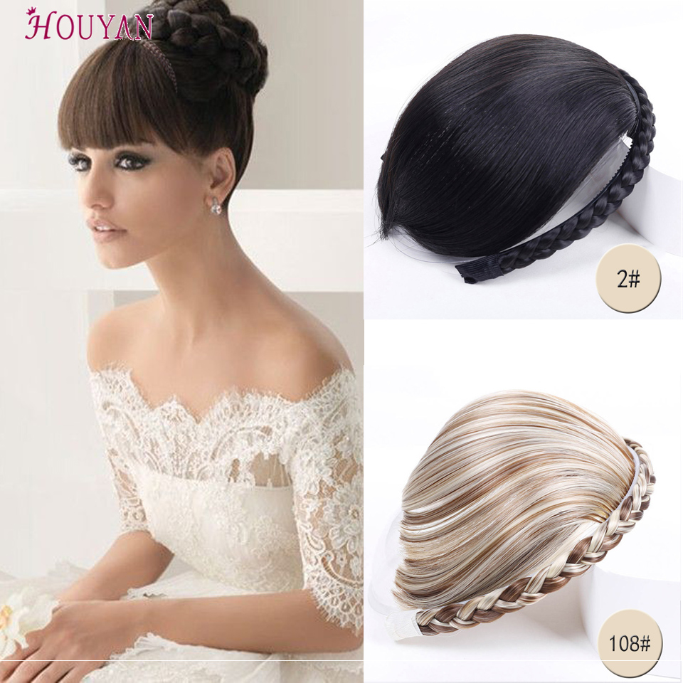 HOUYAN Natural High Temperature Blunt Bangs Synthetic False Hair Fringe Clip In Hair Extension