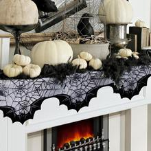 OurWarm Halloween Decoration for Home Horror 20 x 80 Black Lace Bats Spiders Mantle Scarf Polyester Fireplace Cover
