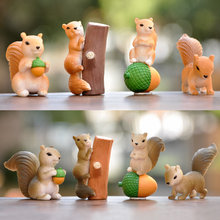 4 Styles Simulation Squirrel Family Doll Ornaments Miniature Figurines Cartoon Animal Squirrel Baby Collection Nut Decorations(China)