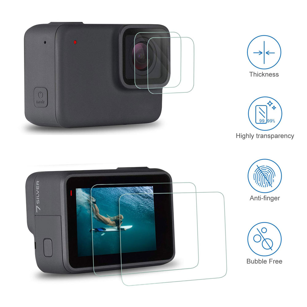 Tempered Glass Lens LCD Screen Protection for Go Pro Gopro Hero 5 6 7 8 Hero5 Hero 6 Hero7 Protector Film Camera Lens Cap Cover - ANKUX Tech Co., Ltd