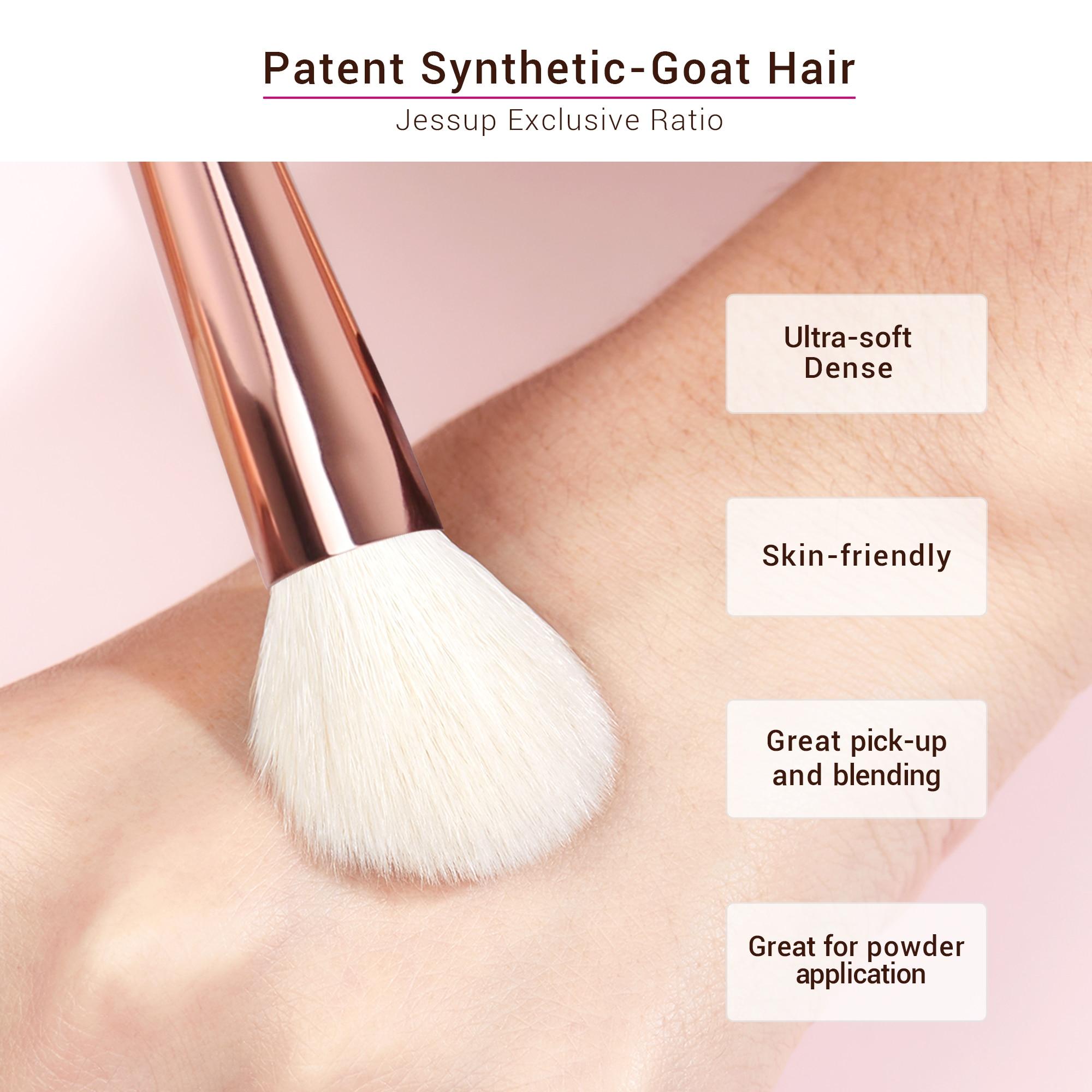 Jessup Makeup brushes set Pearl White / Rose Gold  4