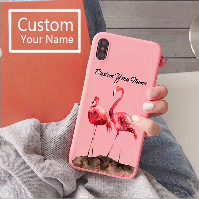 Custom Name iphone7 xr 11 pro max Cases Liquid Silicone <font><b>Baseus</b></font> Phone Case Shell Flamingo Cover SE 2020 Phone Case for Girls image