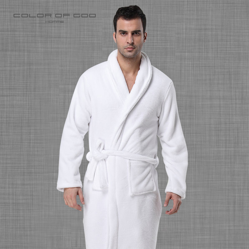 Men's Autumn And Winter Thick Coral Fleece Long Bathrobes Hotel Robe Home Bathrobes Home Casual Sleeping Clothes