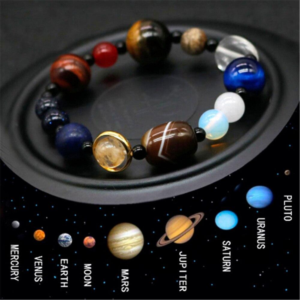 Natural Crystal Stone Beads Bracelet Universe Eight Plants Galaxy Solar System Bracelets for Men or Women