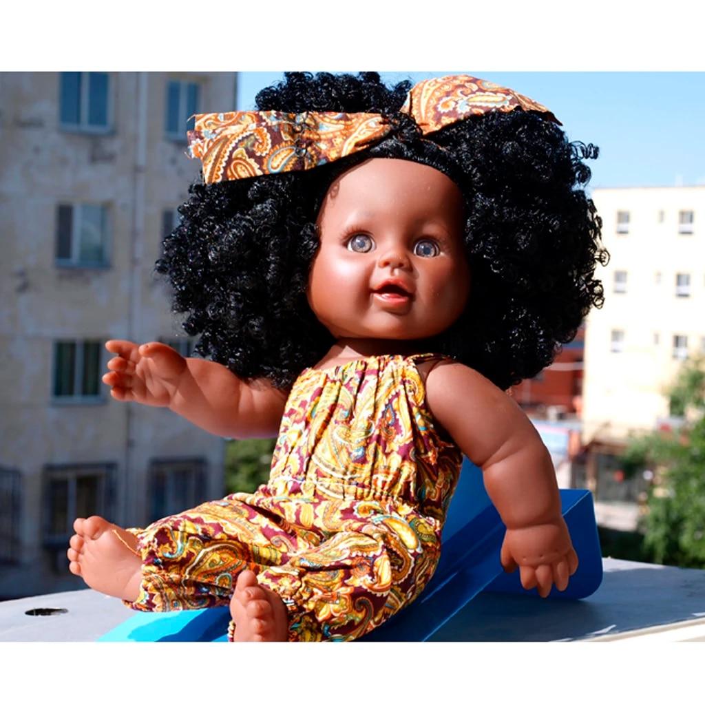 Real Life Reborn 12 Baby Girl Doll Black Skin Black Curly Hair Kids Gift Dolls Aliexpress