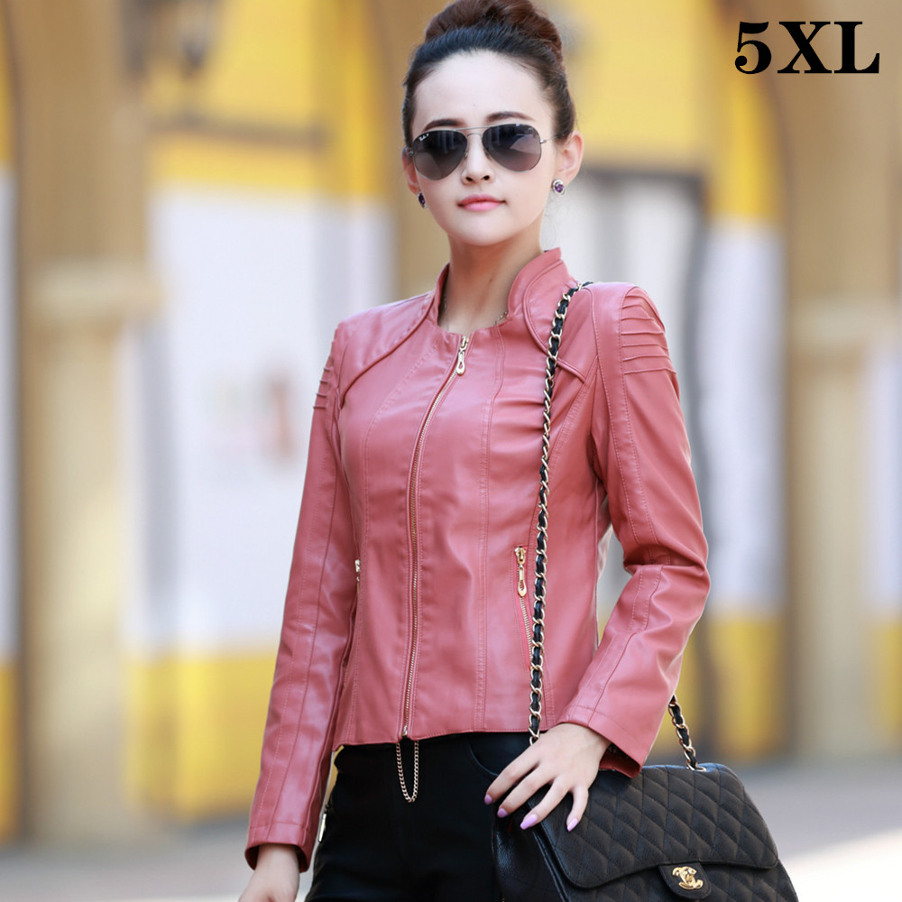 Autumn Oversize Faux Women   Leather   Jacket 5XL Female Fashionable Fall Red Pink Short Zipper PU   Leather   Coat Big Large Size
